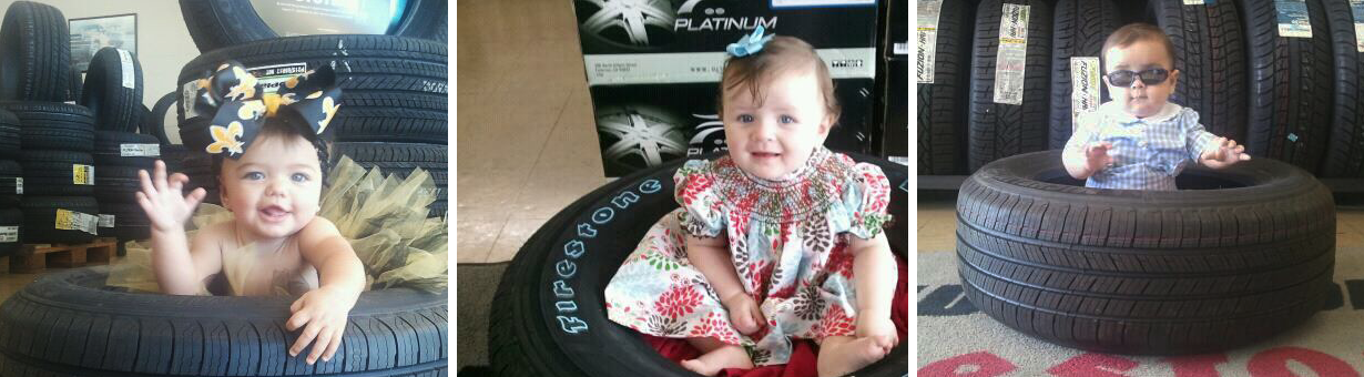 Cute Baby sitting in tires